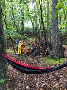 aishling forest school, forest school, hammock, den building