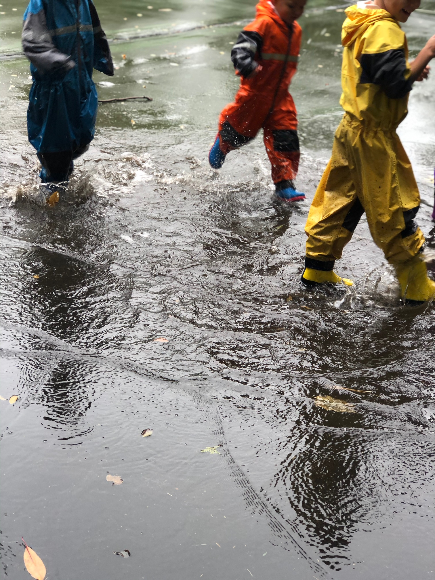 aishling forest school, puddles, rain play