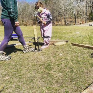 aishling forest school, forest school, play based, outdoor play, hammer, tools